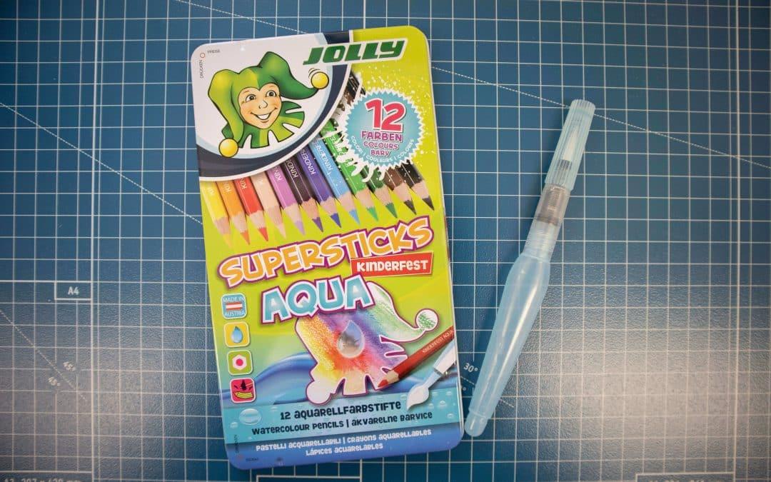 Wasservermalbare Buntstifte im Einsatz